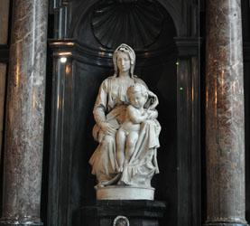 Michaelangelo marble in Bruges church, Bruges, Belgium