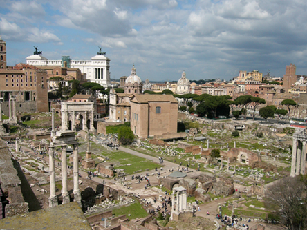 Full height columns of temples, downtown Ancient Rome - The Forum