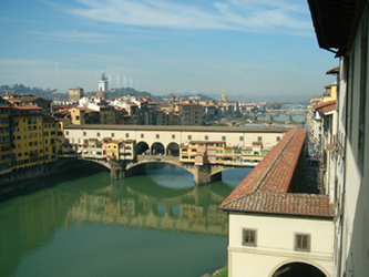Ponte Vecchio from Uffizi Gallery, Florence, Italy