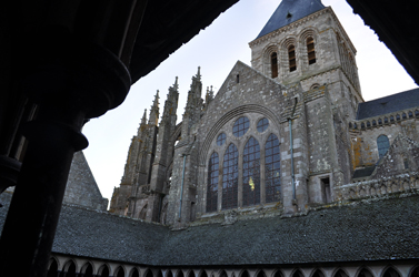 Looking up from the cloisters, Mont Saint-Michel, Normandy, France. Photo by David Wineberg