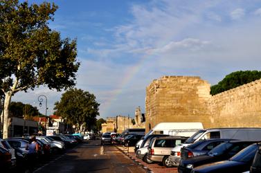 Avignon, main entrance with rainbow. Photo by David Wineberg
