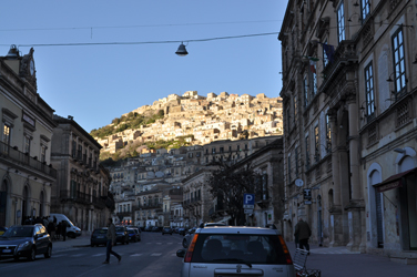 Modica, Sicily, Italy, upper town and lower town at sunset. Photo by David Wineberg