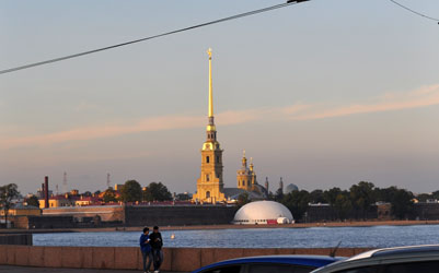Fortress of Peter and Paul at sunset, St. Petersburg, Russia. Photo by David Wineberg