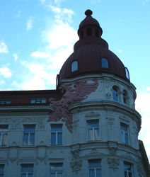 Eagle on apartment building, Vienna, Austria