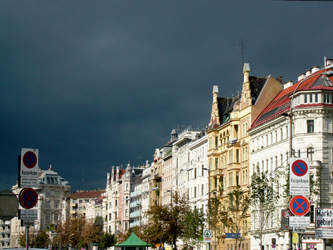 Storm clouds over Linke Wienzeile, Vienna